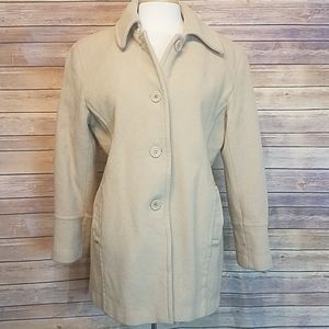 Marvin Richards wool button down coat XL tan